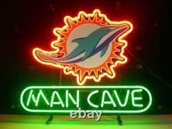 13x8 Man Cave Miami Dolphins Neon Beer Sign Light Lamp Bar Garage Store Hang