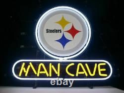 13x8 Man Cave Pittsburgh Steelers Neon Beer Sign Light Lamp Bar Garage Store