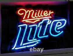 13x8 Miller Lite Neon Beer Sign Light Lamp Bar Garage Store Hanging Pub