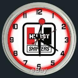 16 Hurst Shifters Red Neon Clock Man Cave Garage Shop Bar Store Racing