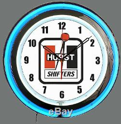 19 Hurst Shifters Blue Double Neon Clock Man Cave Garage Shop Bar Store Racing