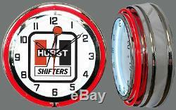 19 Hurst Shifters Red Double Neon Clock Man Cave Garage Shop Bar Store Racing