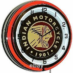 19 Indian Motorcycle 1901 Sign Red Neon Clock Man Cave Garage Shop Store Bike