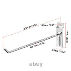 25cm Slat Wall Hook for Room Garage Retail Store Display, Chrome Plated 15Pcs