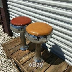 2 Retro Bar Diner Stools, Chrome Soda Fountain Store Mid Century 1950s Stools