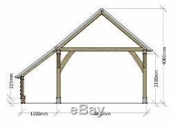 2 bay oak garage with log store