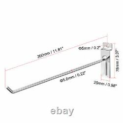 30cm Slat Wall Hook for Room Garage Retail Store Display, Chrome Plated 56Pcs