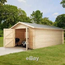 4.2 x 5.7m WOODEN GARAGE LOG CABIN 34mm 44mm CLADDING OUTDOOR STORE SPILT ROOF