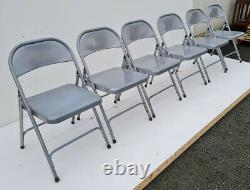 6 x Collapsible Metal Chairs, Foldable, Easy Store, Office, Party, Bulk Buy