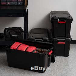 82 Qt. Weather Tight Store-It-All Storage Bin in Black (Pack of 4)
