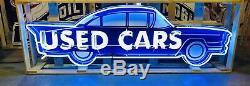 AMAZING Large USED CARS Dealership NEON Sign STORE DISPLAY Garage Man Cave item