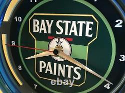 Bay State Paints Massachusetts Painter Store Garage Bar Man Cave Neon Clock Sign