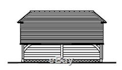 CH1SBL Oak Frame Garage Building/Cart Lodge Self Assembly Kit with Log Store