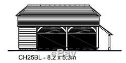 CH25BL Oak Frame Garage/Cart Lodge Building Kit 2-Bay/Side Aisle/Log Store