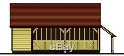 CH25GL 2-Bay Oak Frame Garage Building/Cart Lodge Kit Side Aisle/Log Store
