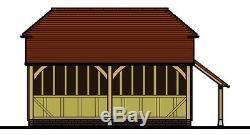 CH2BL 2-Bay Oak Frame Garage Building/Cart Lodge Barn Hip Profile/Log Store