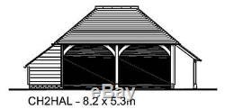 CH2HAL 2-Bay Oak Frame Garage Building/Cart Lodge Kit Side Aisle/Log Store