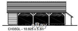 CH35GL Traditional Oak Frame Garage Building Kit 3.5 Bay/Side Aisle/Log Store
