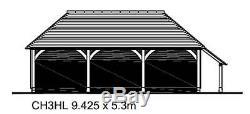 CH3HL 3-Bay Oak Frame Garage Building Self Assembly Kit with Log Store