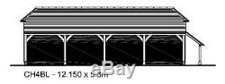 CH4BL Oak Frame Garage Building Kit/Cart Lodge (Self Assembly) 4-Bay/Log Store