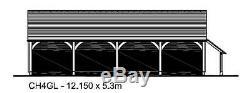 CH4GL Oak Frame Garage Building/Cart Lodge (Self Assembly) Kit 4-Bay/Log Store