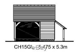 CHI5GL Traditional Oak Framed Garage Building/Cart Lodge Kit 1.5-Bay/Log Store