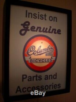 Columbia Bicycles Bike Store GeunineParts Garage Man Cave Lighted Sign