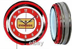Evinrude Boat Motors 19 Double Neon Clock Red Neon Man Cave Garage Store Shop