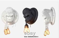 Gorilla Statue Wall Lamp Bed Room Light Retro Modern LED ORANGUTAN Animal Deco