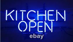 Kitchen Open Blue Neon Lamp Sign 14x8 Bar Lighting Garage Cave Store Artwork