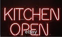 Kitchen Open Red Neon Lamp Sign 14x8 Bar Lighting Garage Cave Store Artwork