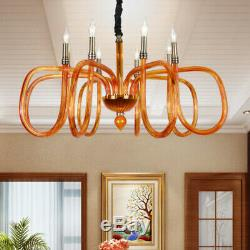 LED European Brown Glass Chandelier Clothing Store Banquet Hall Ceiling Lamp