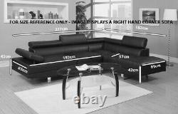 L-Shape Left Hand Black Jumbo Corner Sofa Adjustable Headrest By Tiny Home Store