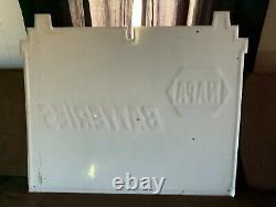 Large Vintage Embossed NAPA Batteries Auto Parts Store Metal Sign Garage Nice