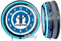 MOPAR M Logo 19 Blue Double Neon Clock Man Cave Garage Shop Bar Store Dealer