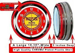 MOPAR Parts Accessories 19 Red Double Neon Clock Man Cave Garage Shop Store