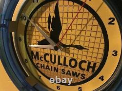 McCulloch Chainsaw Lumberjack Landscaper Store Garage Man Cave Neon Clock Sign