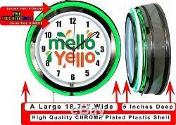 Mello Yello 19 Double Neon Green Neon Clock Man Cave Bar Garage Soda Pop Store