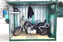 Motorcycle garage, green motorbike store very secure Insurance approved locks
