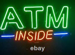 New ATM Inside Store Neon Lamp Sign 20x16 Light Real Glass Garage Bar Pub