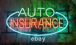 New Auto Insurance Store Neon Lamp Sign 20x14 Light Real Glass Garage Pub