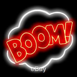 New BOOM! Lamps Bar Neon Sign 17x14 Beer Light Glass Store Garage Display