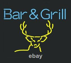 New Bar And Grill Deer Neon Lamp Sign 20x16 Light Real Glass Garage Pub Store