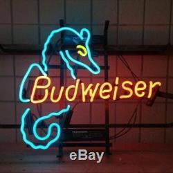 New Budweiser Sea Horse Neon Sign 17x14 Beer Light Glass Store Garage Display