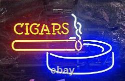 New Cigars Ashtray Store Neon Lamp Sign 20x16 Light Glass Garage Bar Pub Wall