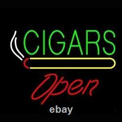 New Cigars Open Store Neon Lamp Sign 20x16 Light Glass Garage Bar Pub Display