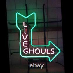 New Live Ghouls Arrow Neon Lamp Sign 20x16 Light Glass Garage Bar Pub Store