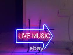 New Live Music Arrow Right Neon Lamp Sign 20x12 Light Glass Garage Bar Store