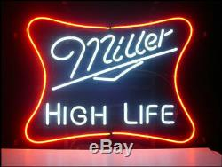 New Miller Lite High Life Neon Sign 17x14 Light Glass Store Garage Display