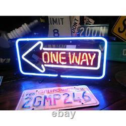 New One Way Arrow Left Neon Lamp Sign 20x16 Light Glass Garage Bar Pub Store